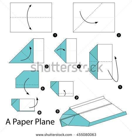 Show Me How To Make A Paper Airplane - step by step how make stock vector 410497192