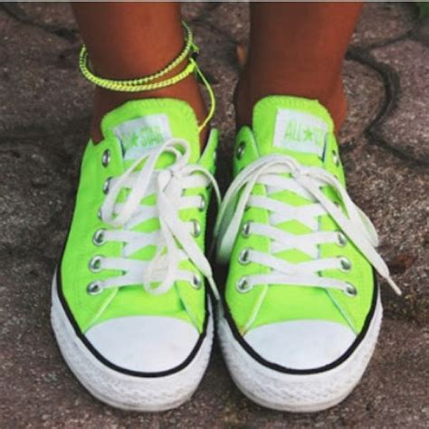 lime green sneakers neon limegreen chuck taylors converse