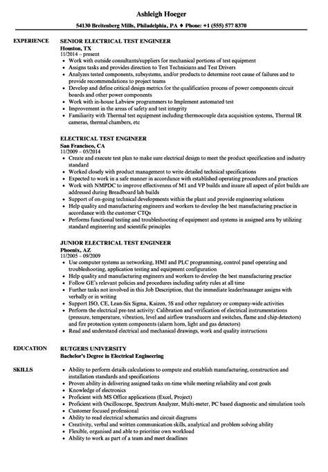 electrical testing engineer resume electrical test engineer e b