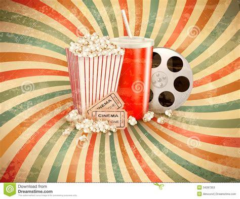 fotos retro retro achtergrond met popcorn en een drank stock foto s