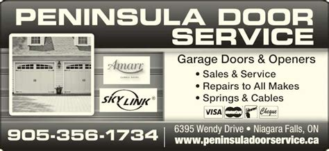 Peninsula Overhead Doors Peninsula Overhead Door Niagara Falls On 6395 Wendy Dr Canpages