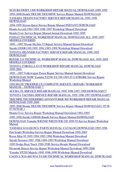 1995 suzuki swift 1000 1300 repair shop manual original yamaha wr250f wiring diagram pdf download images wiring