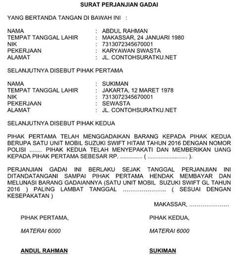 Contoh Surat Pernyataan Over Kredit Motor Suratmenyurat Net