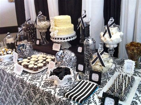 black and white bridal shower centerpiece ideas dessert table black and white damask bridal shower