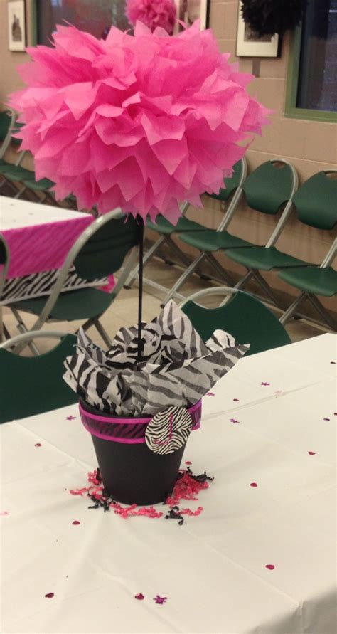 Pink And Zebra Baby Shower Ideas by Centerpiece For Pink And Black Zebra Print Theme Baby