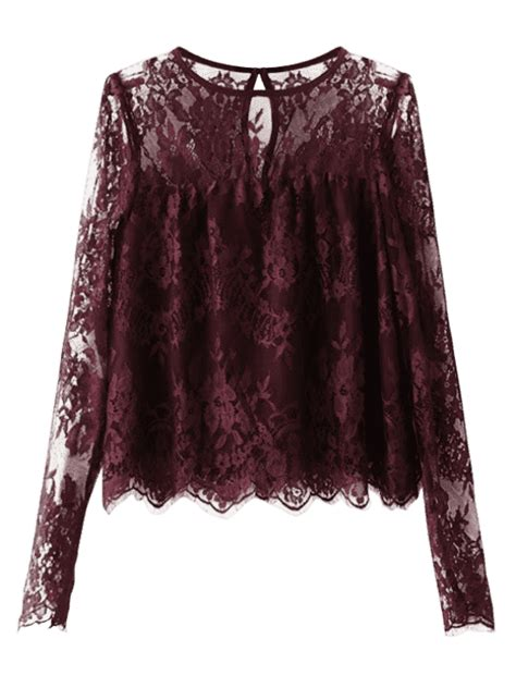 L 842 Transparent Top Bottom Costume scalloped see through lace blouse purplish blouses m