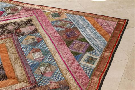 Sari Patchwork Quilt - indian silk sari tapestry quilt patchwork bedcover for
