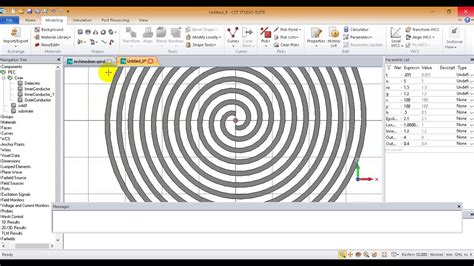 design archimedean spiral antenna connected to coax