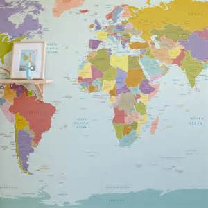 World Maps Wall by World Map Wallpaper Mural For Kids Room