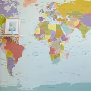 World Maps World Map Wallpaper Mural For Room