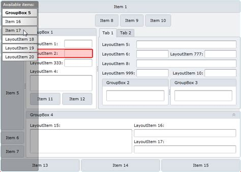 layoutitem devexpress silverlight wpf layout control available items support
