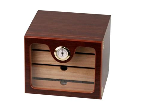 50 cigar humidor cherry w 3 humdifier hygrometer 3 drawers new ebay