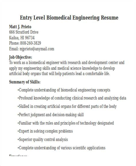 biomedical engineering resume sles 47 engineering resume sles pdf doc free premium