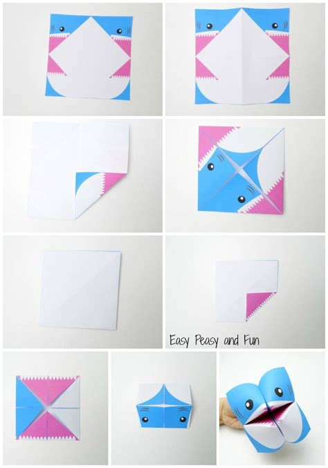 How To Make A Origami Shark Easy - shark cootie catcher origami for easy peasy and