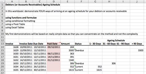 Trade Credit Formula Excel Debtors Accounts Receivable Ageing Schedule Excel With Excel Master