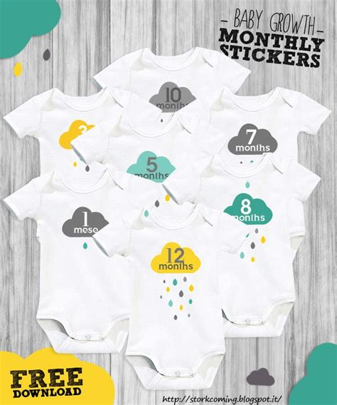 printable iron on monthly onesies i added quot cloud rain drops baby growth monthly stickers