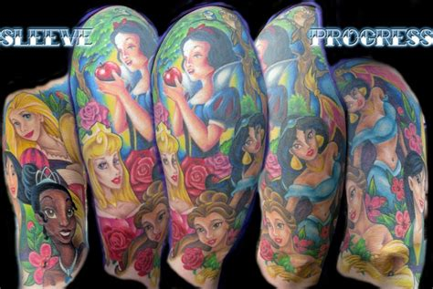 disney princess with tattoos disney princess sleeve tattoos
