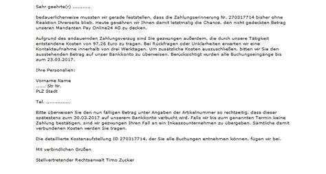 Mahnung Muster Rechtsanwalt Achtung Pay Online24 Ag Verschickt Wieder Mahnungen Anti Spam Info