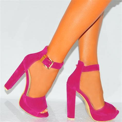 pink sandals heels s fuchsia pink strappy sandals platforms high