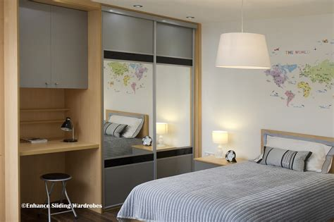 kids bedroom cupboards grey black mirror sliding wardrobe with fitted desk