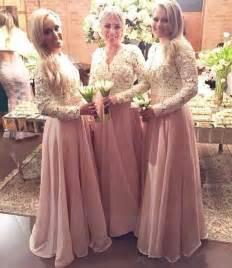 Wedding party dress v neck arabic dubai long sleeve bridesmaid dresses