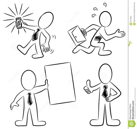 cartoon white cartoon business people black and white stock image