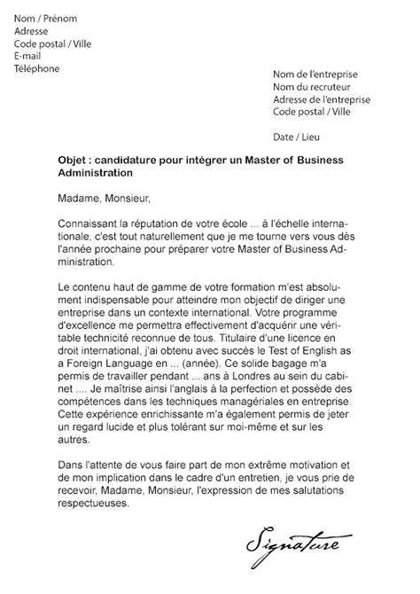 Lettre De Recommandation Grande Ecole Lettre De Motivation Master Of Business Administration Mba Mod 232 Le De Lettre