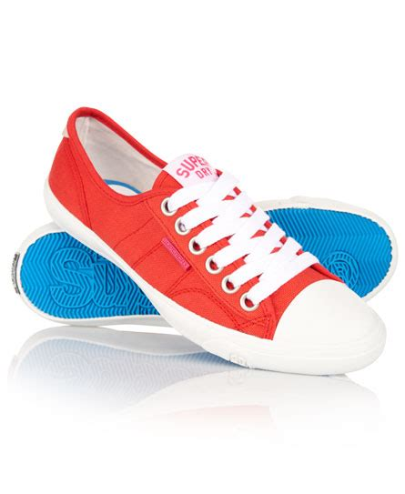 womens low pro shoes in poppy canvas superdry