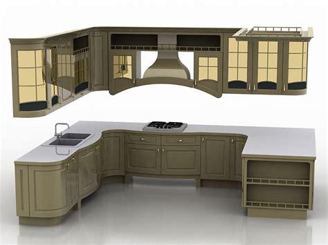 3d Kitchen Cabinet Design U Shaped Kitchen Design 3d Model 3ds Max Files Free Modeling 19565 On Cadnav