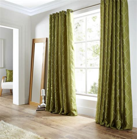 the green curtain midtown eyelet lined curtains green free uk delivery
