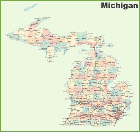 michigan state map map of michigan state map of usa