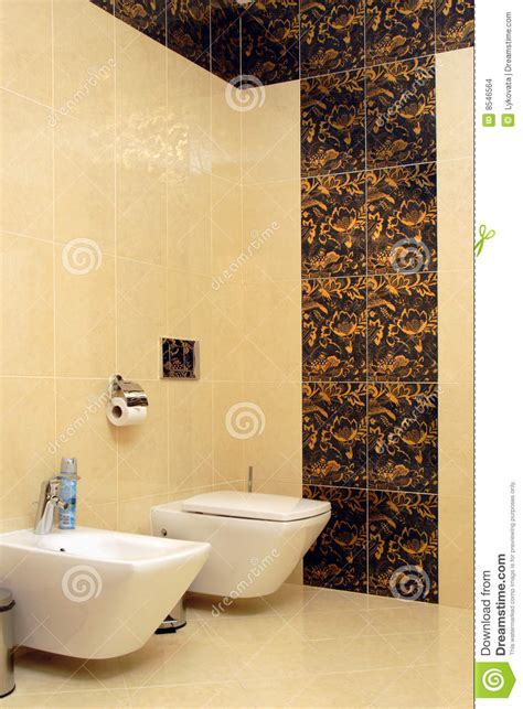 Luxury Bathroom With Toilet Sink And Bidet Stock Photo