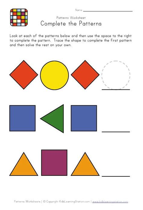 pattern recognition numbers and figures 11 best pattern worksheets images on pinterest math