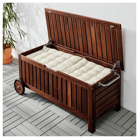 6 storage bench 196 pplar 214 storage bench outdoor brown stained 128x57 cm ikea