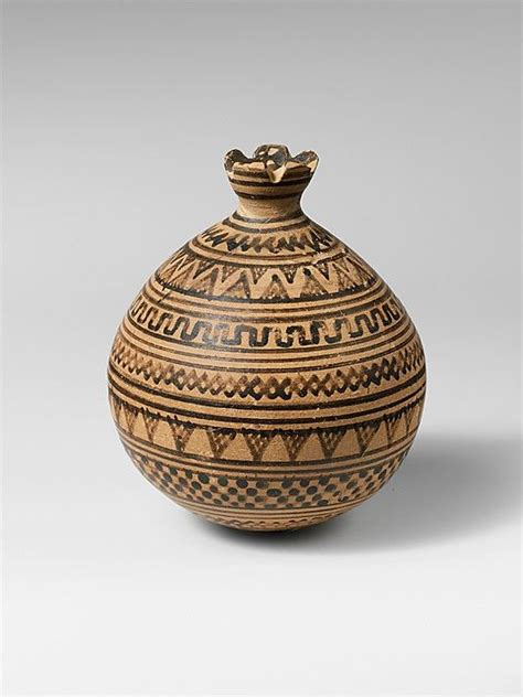 Geometric Vase Painting by Terracotta Vase In The Form Of A Pomegranate Period