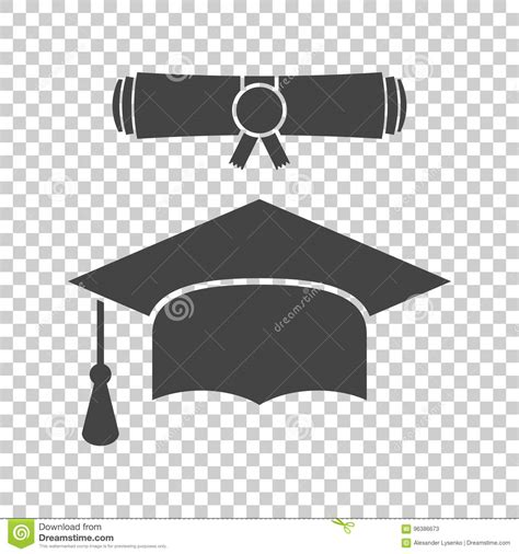 Graduation Cap And Diploma Scroll Icon Vector Illustration ... Diploma Scroll Vector
