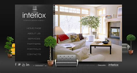 home interiors website interiox interior design agency html5 template on behance