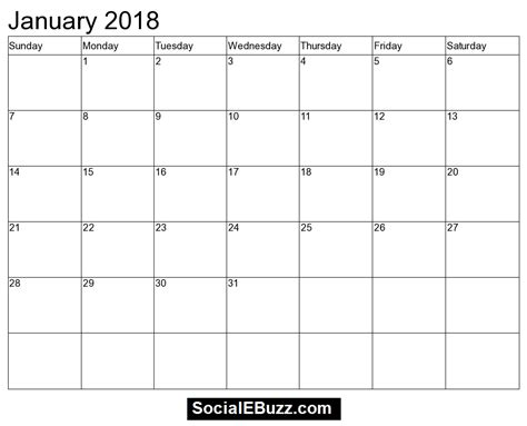 january 2018 calendar in pdf excel word max calendars