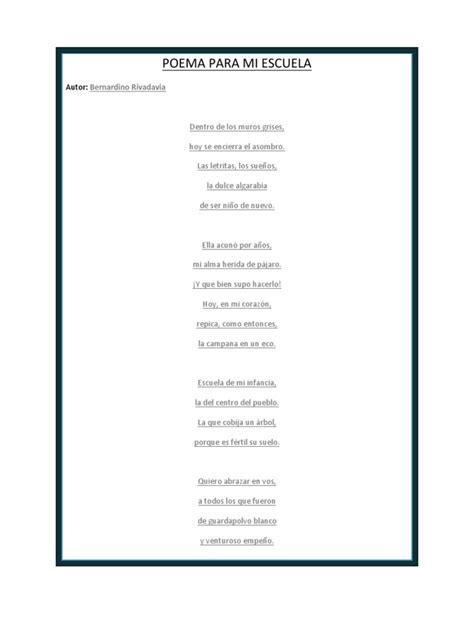 poesia para mi colegio de 5 estrofas poema para mi escuela