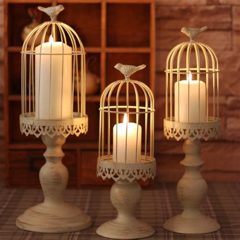 bird cage candle holder made white moroccan decor