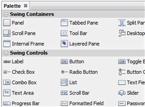 swing components in java with exle netbeans ide swing