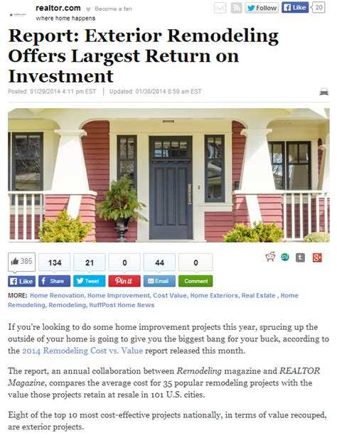 home improvement return on investment 28 images a