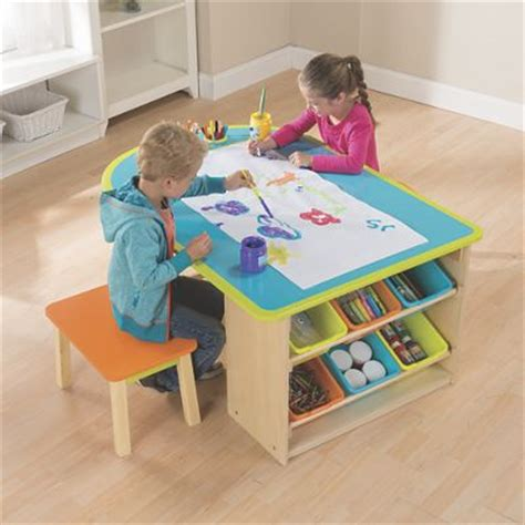 kids art table kids art table with stools and storage from one step ahead