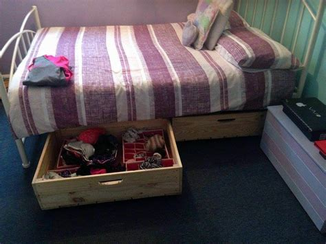 diy pallet bed drawers with wheels