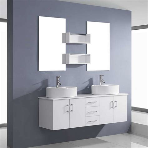 2 Sink Bathroom Vanity Modern Bathroom Vanity Set With Mirror Included 2 Sinks White Finish Minimalist Desk