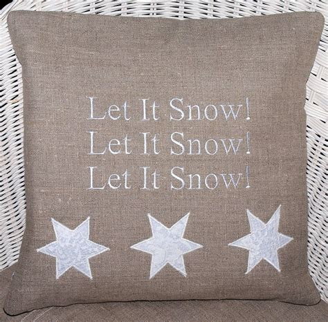 let it snow cushion by tuppenny house designs