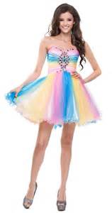 multi colored formal dress short strapless tulle poofy