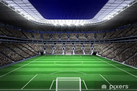 large football stadium  lights wall mural pixers