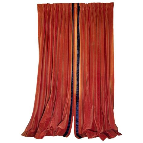 navy velvet drapes pair of deep sangrine orange velvet drapes with