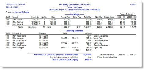 property management report template vacation rentpro complete vacation rental management